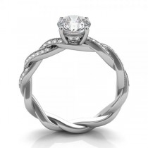 Diamond Infinity Twisted Engagement Ring 14k White Gold (0.22ct)