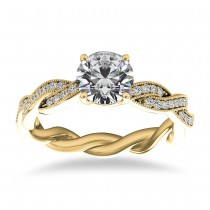 Diamond Infinity Twisted Engagement Ring 14k Yellow Gold (0.22ct)