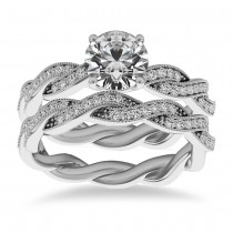 Diamond Twisted Bridal Set Setting 14k White Gold (0.42ct)