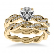 Diamond Twisted Bridal Set Setting 14k Yellow Gold (0.42ct)