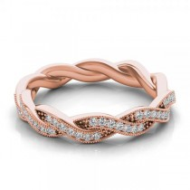 Diamond Twisted Wedding Band 14k Rose Gold (0.20ct)