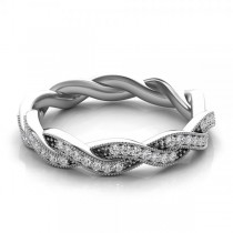 Diamond Twisted Wedding Band 14k White Gold (0.20ct)