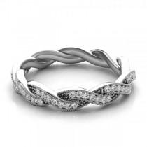 Diamond Twisted Wedding Band 14k White Gold (0.20ct)