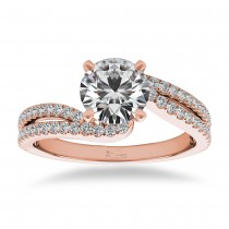 Diamond Split Shank Twisted Engagement Ring 14k Rose Gold (0.34ct)