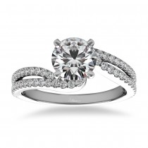 Diamond Split Shank Twisted Engagement Ring 14k White Gold (0.34ct)