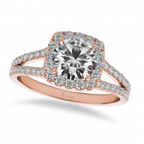 Diamond Square Halo Engagement Ring 14k Rose Gold (1.50ct)