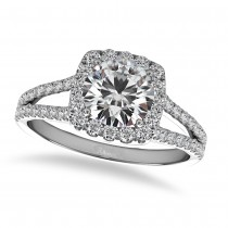 Diamond Square Halo Engagement Ring 14k White Gold (1.50ct)