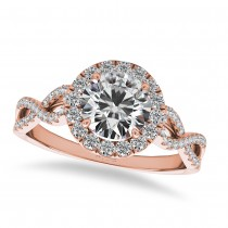 Twisted Diamond Halo Engagement Ring 14k Rose Gold (1.50ct)