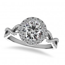 Twisted Diamond Halo Engagement Ring 14k White Gold (1.50ct)