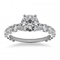 Graduated Diamond Engagement Ring 14k White Gold (1.00ct)