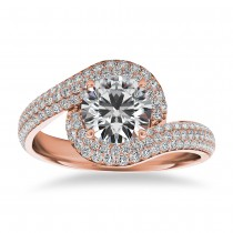 Pave Diamond Swirl Halo Engagement Ring 14k Rose Gold (0.61ct)