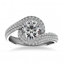 Pave Diamond Swirl Halo Engagement Ring 14k White Gold (0.61ct)