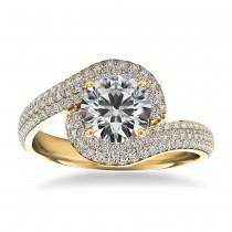 Pave Diamond Swirl Halo Engagement Ring 14k Yellow Gold (0.61ct)
