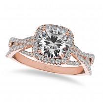Diamond Twisted Halo Engagement Ring 14k Rose Gold (1.50ct)
