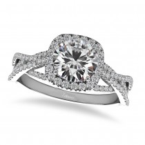 Diamond Twisted Halo Engagement Ring 14k White Gold (1.50ct)