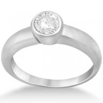 Bezel-Set Solitaire Engagement Ring Setting in 14k White Gold