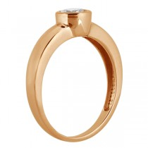 Bezel-Set Solitaire Engagement Ring Setting in 18k Rose Gold
