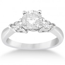 Three Stone Pear Shaped Diamond Engagement Ring 18k White Gold (0.50ct)