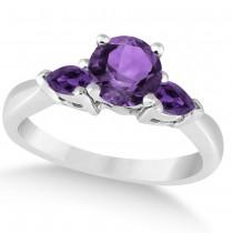 Pear Cut Three Stone Amethyst Engagement Ring 14k White Gold (1.50ct)