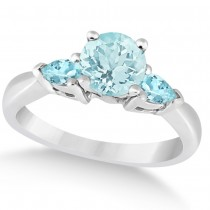 Pear Cut Three Stone Aquamarine Engagement Ring 14k White Gold (1.50ct)