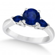 Pear Three Stone Blue Sapphire Engagement Ring 14k White Gold (1.50ct)