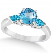 Pear Cut Three Stone Blue Topaz Engagement Ring 14k White Gold (1.50ct)