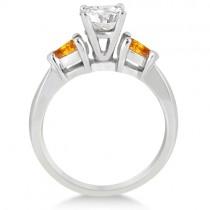 Pear Cut Three Stone Citrine Engagement Ring 14k White Gold (0.50ct)