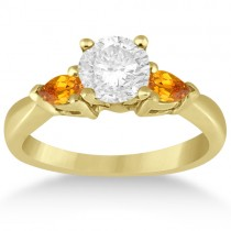 Pear Cut Three Stone Citrine Engagement Ring 14k Yellow Gold (0.50ct)
