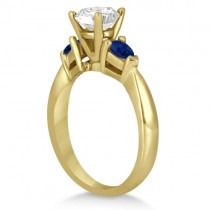 Pear Three Stone Blue Sapphire Engagement Ring 18k Yellow Gold (0.50ct)