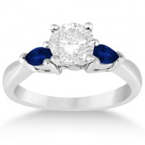 Pear Cut Three Stone Blue Sapphire Engagement Ring Palladium (0.50ct)