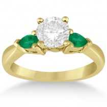 Pear Cut Three Stone Emerald Engagement Ring 18k Yellow Gold (0.50ct)