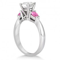Three Stone Pink Sapphire Engagement Ring 14k White Gold (0.50ct)