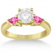 Three Stone Pink Sapphire Engagement Ring 14k Yellow Gold (0.50ct)