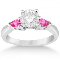 Three Stone Pink Sapphire Engagement Ring 18k White Gold (0.50ct)