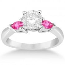 Three Stone Pink Sapphire Engagement Ring 18k White Gold (0.50ct)