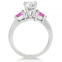 Three Stone Pink Sapphire Engagement Ring Palladium (0.50ct)