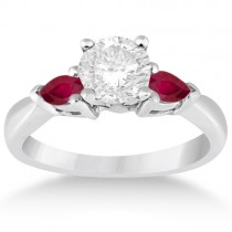 Pear Cut Three Stone Ruby Engagement Ring 14k White Gold (0.50ct)