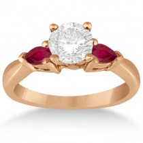 Pear Cut Three Stone Ruby Engagement Ring 18k Rose Gold (0.50ct)