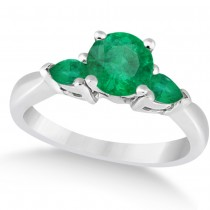 Pear Cut Three Stone Emerald Engagement Ring 14k White Gold (1.50ct)