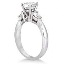 Three Stone Pear Shaped Lab Diamond Engagement Ring Palladium (0.50ct)