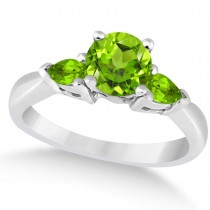 Pear Cut Three Stone Peridot Engagement Ring 14k White Gold (1.50ct)