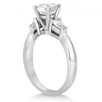 Three Stone Pear Shaped Diamond Engagement Ring Palladium (0.50ct)