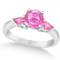 Pear Three Stone Pink Sapphire Engagement Ring 14k White Gold (1.50ct)