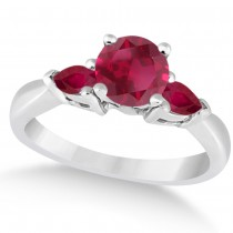 Pear Cut Three Stone Ruby Engagement Ring 14k White Gold (1.50ct)