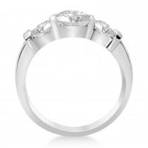 Three-Stone Round Diamond Engagement Ring 14k White Gold 1.70ct