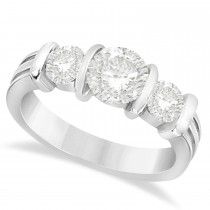 Three-Stone Round Diamond Engagement Ring 18k White Gold 1.70ct