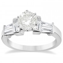 Baguette Diamond Engagement Ring 14k White Gold 0.96ct