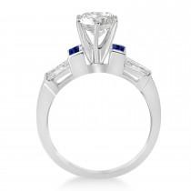 Baguette Blue Sapphire & Diamond Engagement Ring 14k White Gold 0.96ct