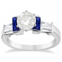Baguette Blue Sapphire & Diamond Engagement Ring 18k White Gold 0.96ct