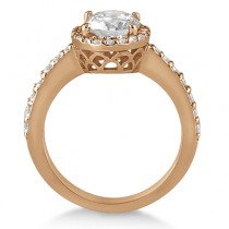 Oval Halo Diamond Engagement Ring Setting 14k Rose Gold (0.36ct)